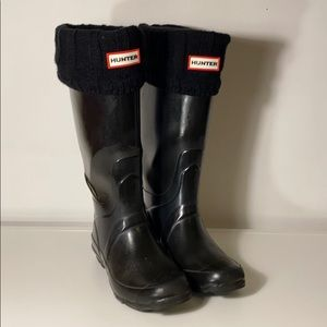 Hunter Rain Boots Black + Socks Wide Calf …